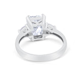 Three Stone Wedding Ring Heart Simulated Cubic Zirconia 925 Sterling Silver