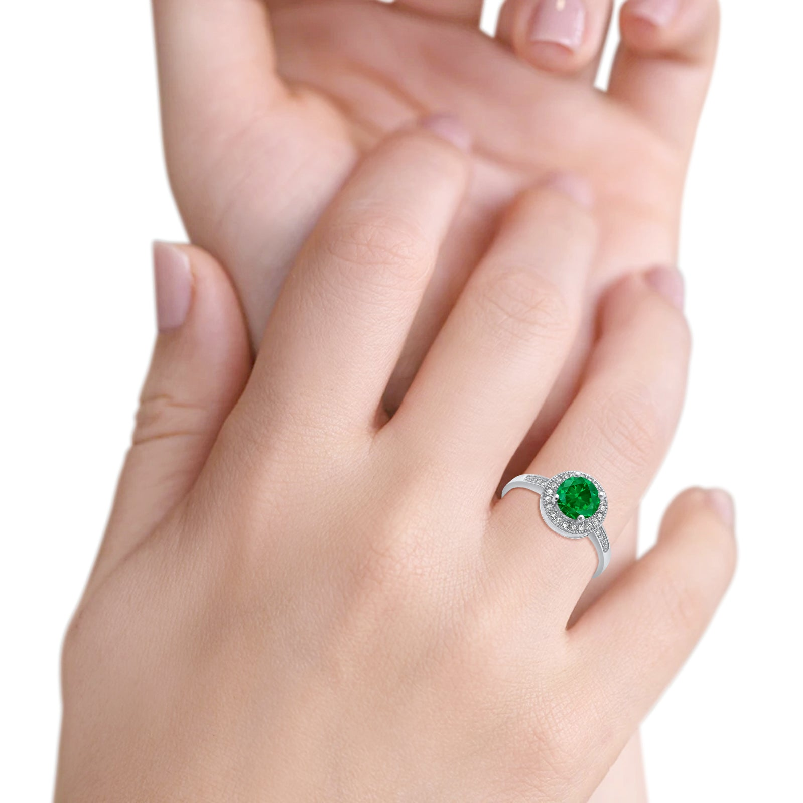Halo Engagement Ring Round Simulated Green Emerald CZ 925 Sterling Silver