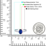Engagement Ring Oval Simulated Blue Sapphire CZ Accent 925 Sterling Silver