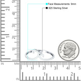 Fashion Swirl Dainty Petite Ring Round Simulated Cubic Zirconia 925 Sterling Silver