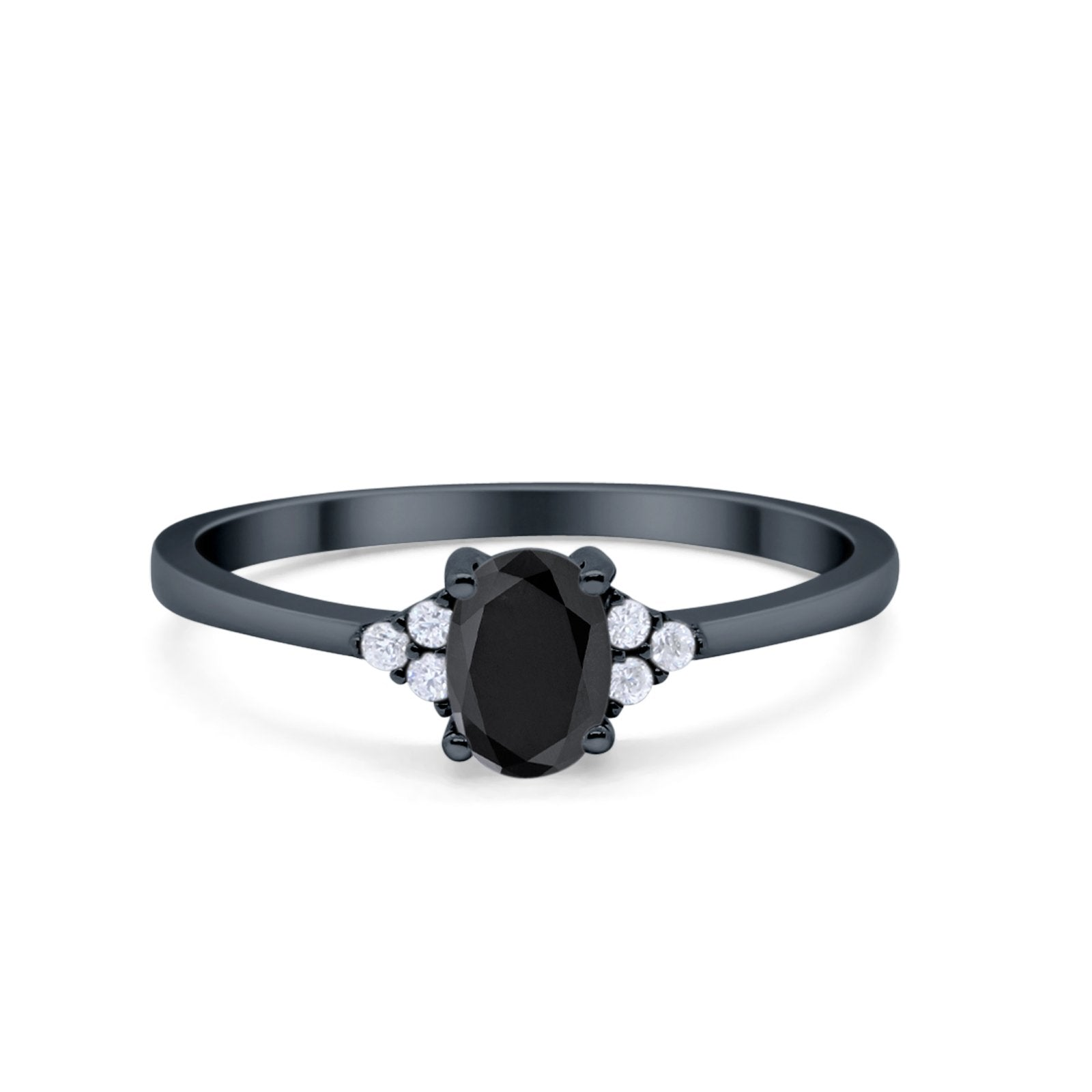 Art Deco Oval Engagement Ring Black Tone, Simulated Black CZ 925 Sterling Silver