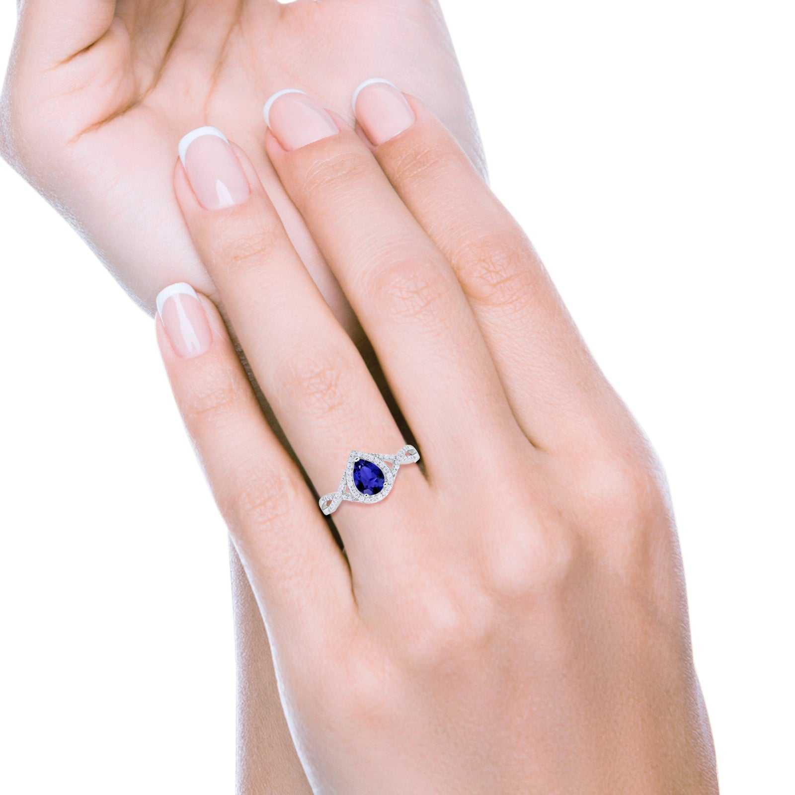 Teardrop Wedding Promise Ring Infinity Round Simulated Blue Sapphire CZ 925 Sterling Silver