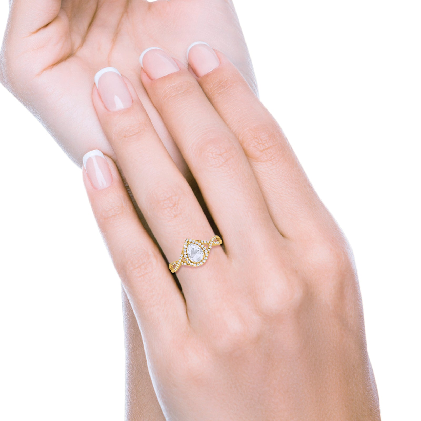 Teardrop Wedding Promise Ring Round Yellow Tone, Simulated CZ 925 Sterling Silver