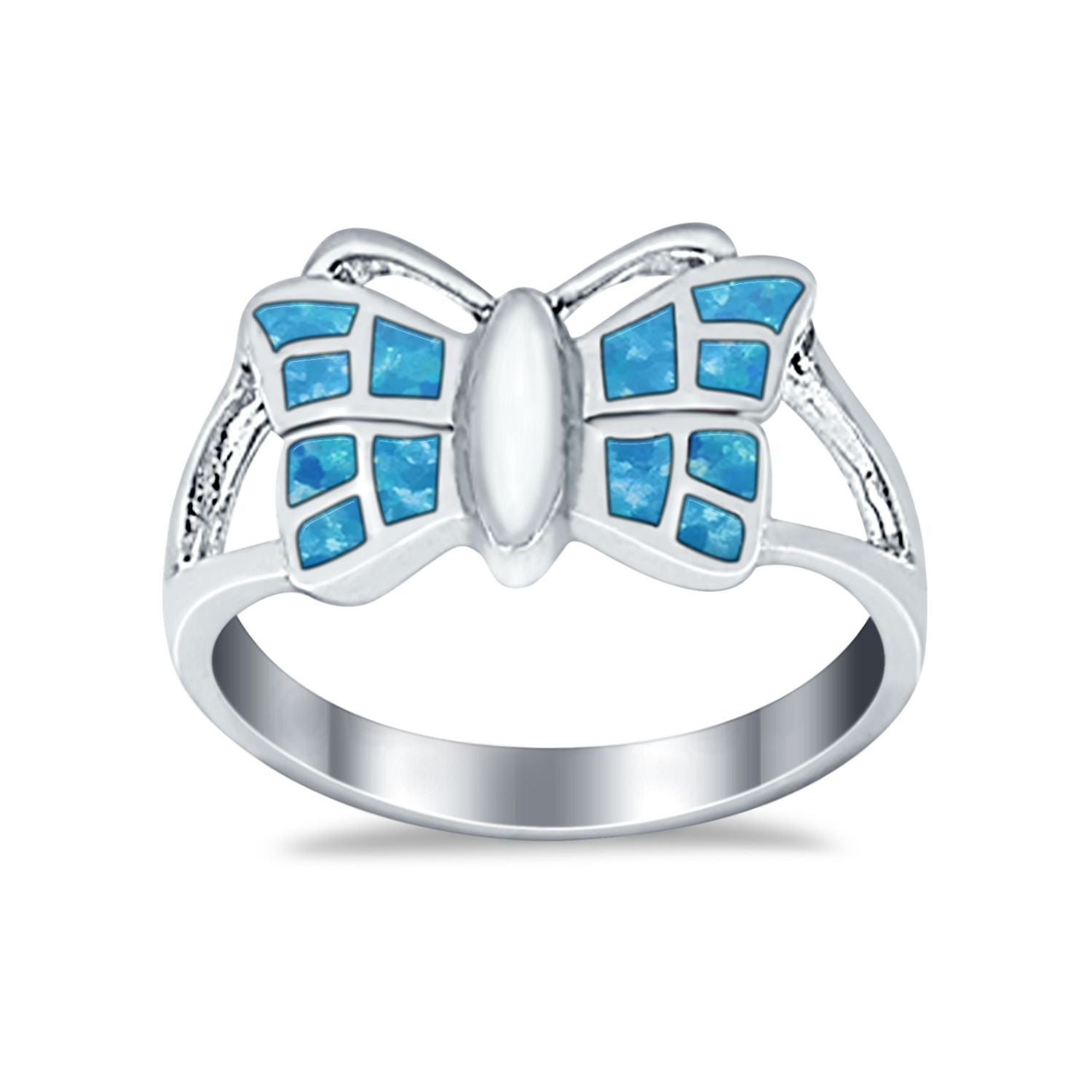 Lab Created Blue Opal Split Shank Butterfly Ring Round 925 Sterling Silver