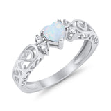 Filigree Heart Promise Wedding Ring 925 Sterling Silver Lab Created White Opal