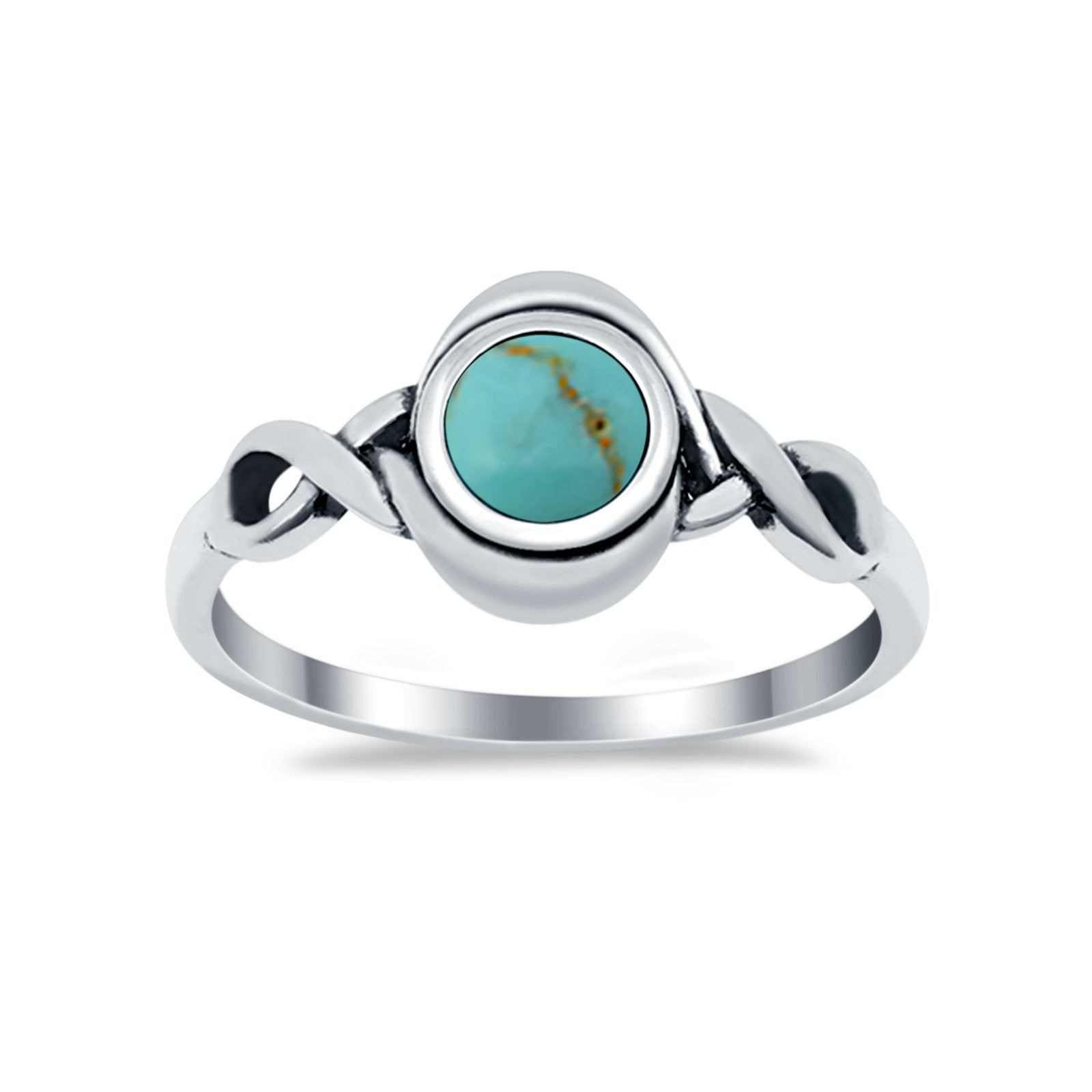 Celtic Trinity Ring Simulated Turquoise CZ Infinity Shank 925 Sterling Silver