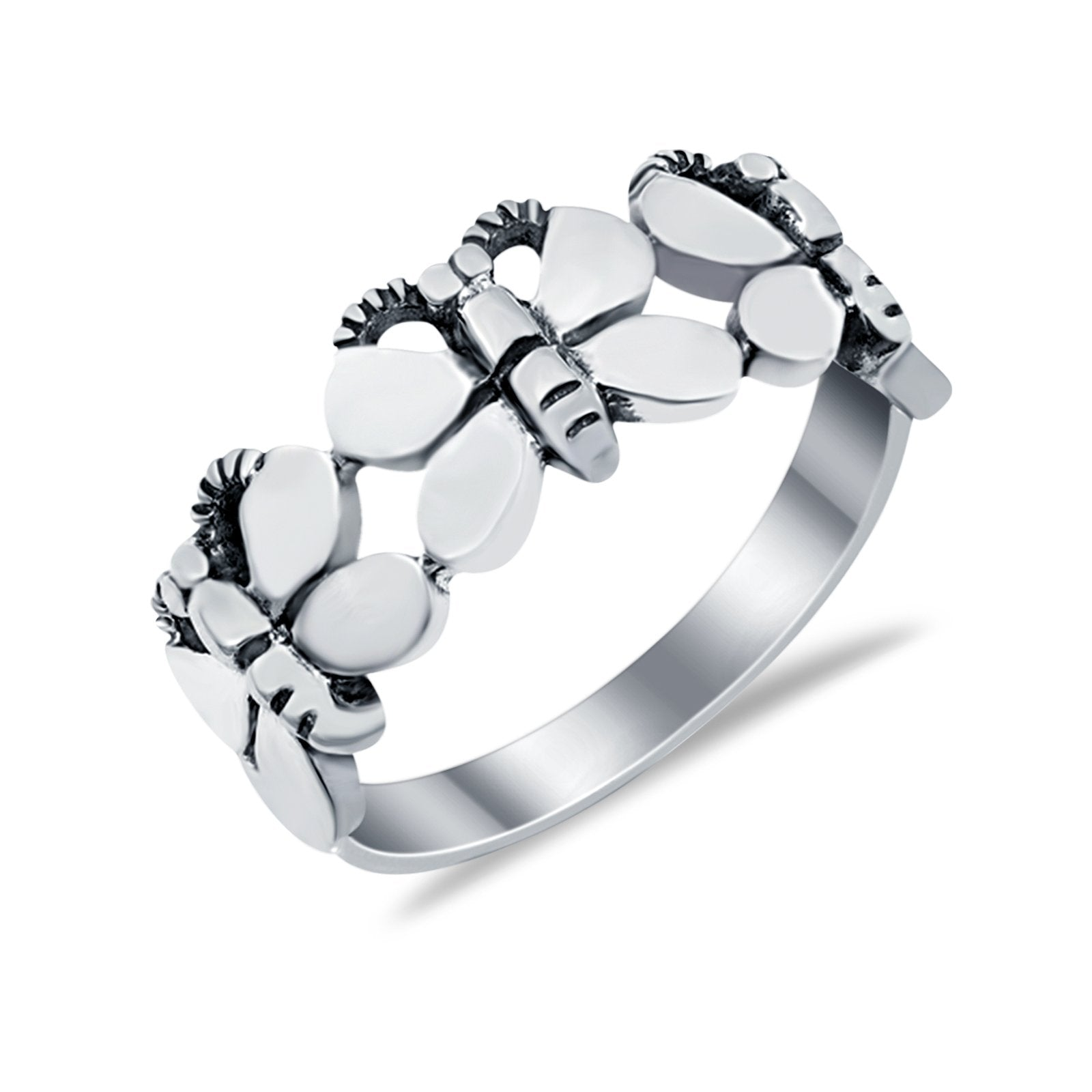 Sterling Silver Butterfly Band Butterfly Statement Ring Round 925 Sterling Silver