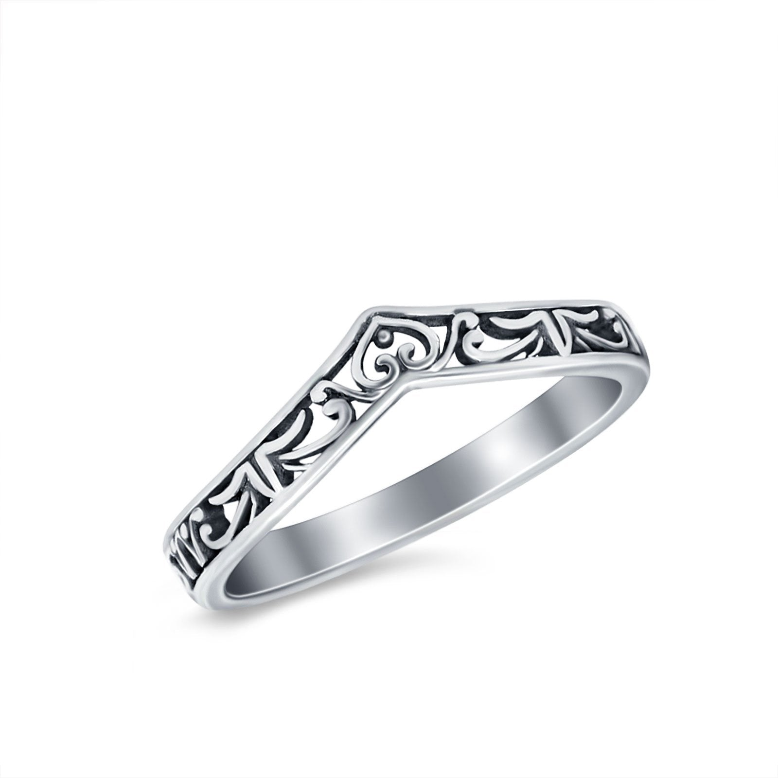 Heart Filigree Midi Thumb Ring V Band Chevron Plain Solid 925 Sterling Silver