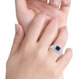 Halo Art Deco Wedding Ring Princess Cut Round Simulated Blue Sapphire CZ 925 Sterling Silver