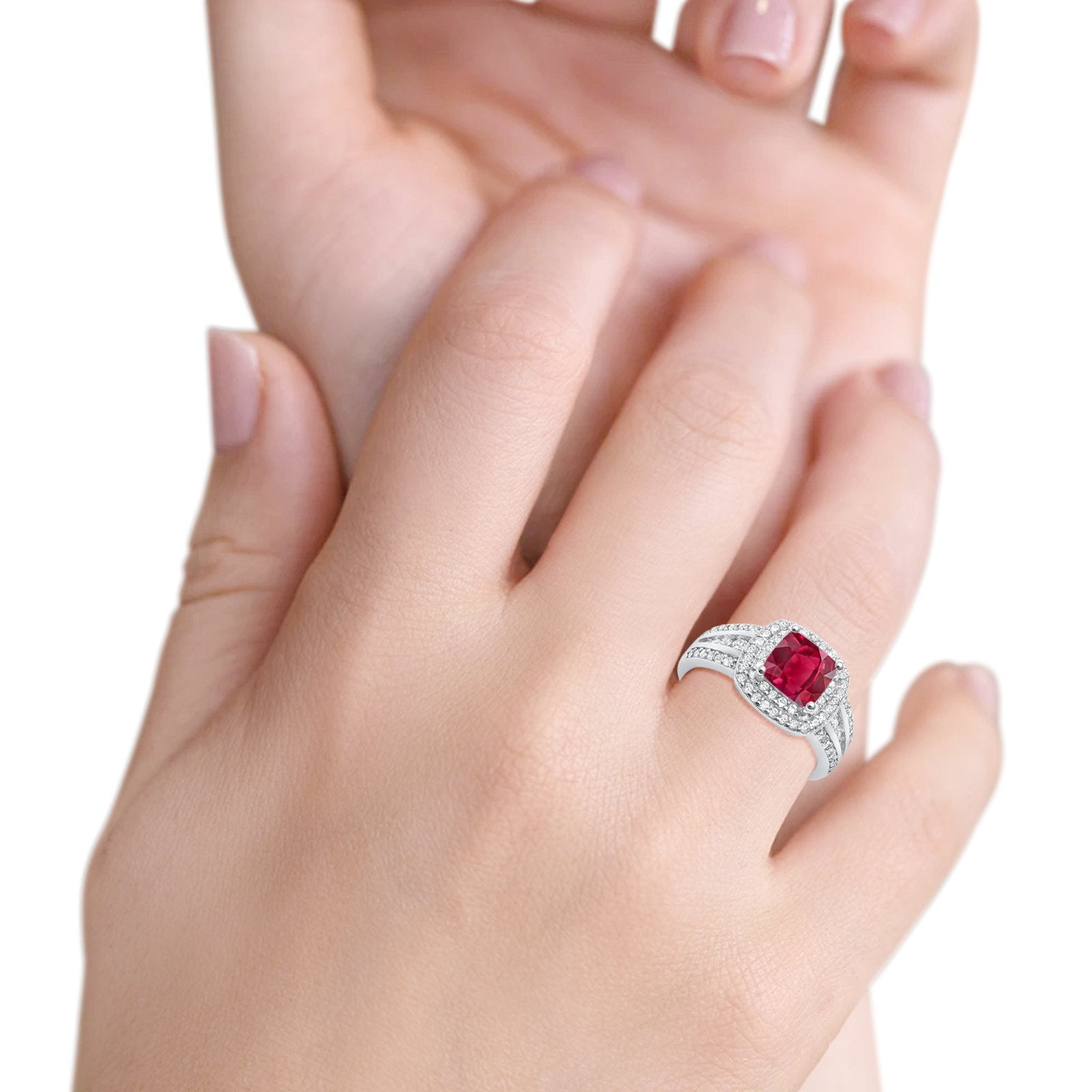 Halo Art Deco Wedding Ring Princess Cut Round Simulated Ruby CZ 925 Sterling Silver