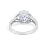 Celtic Oval Engagement Ring Round Simulated Cubic Zirconia 925 Sterling Silver