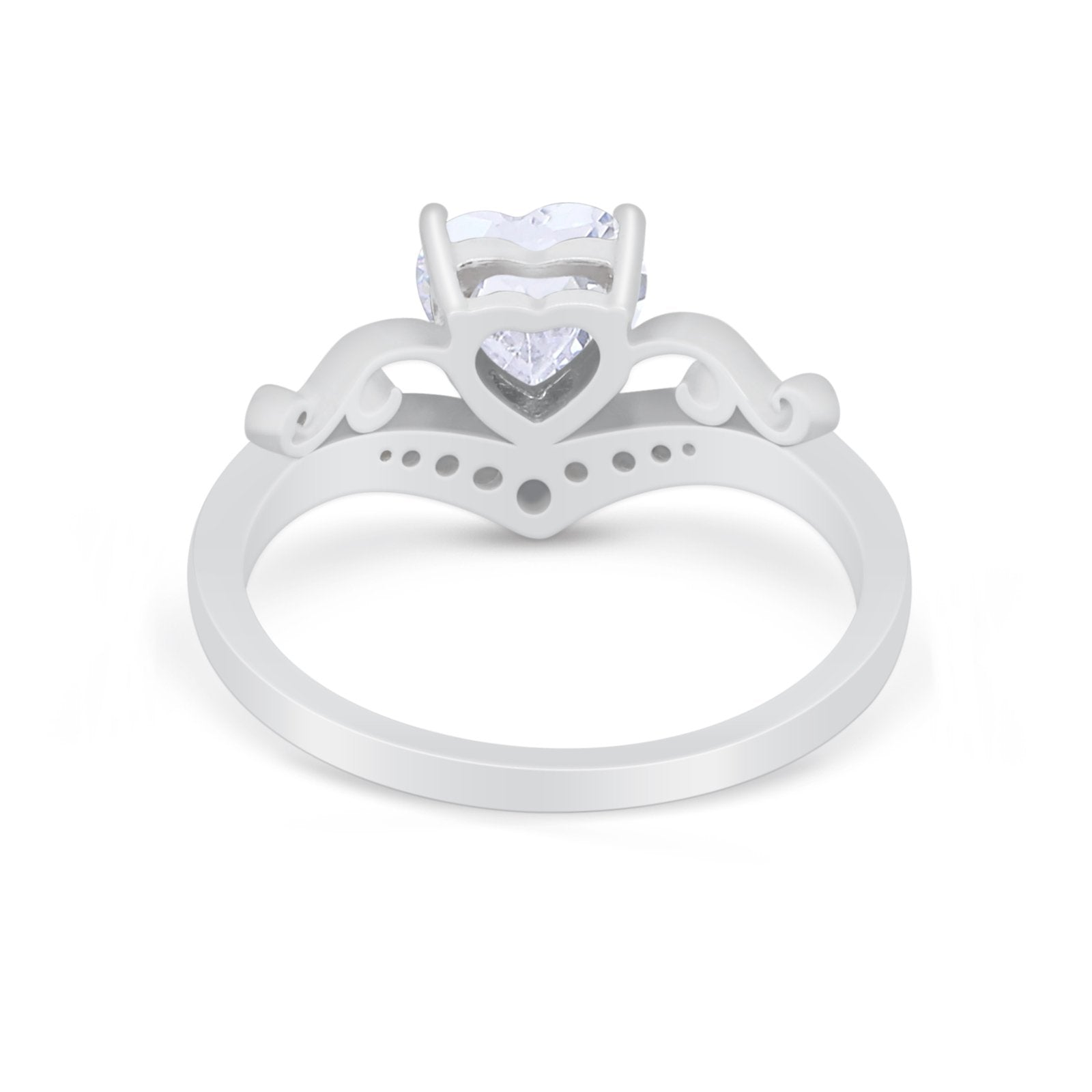 Heart Filigree Thumb Ring Round Simulated Cubic Zirconia 925 Sterling Silver