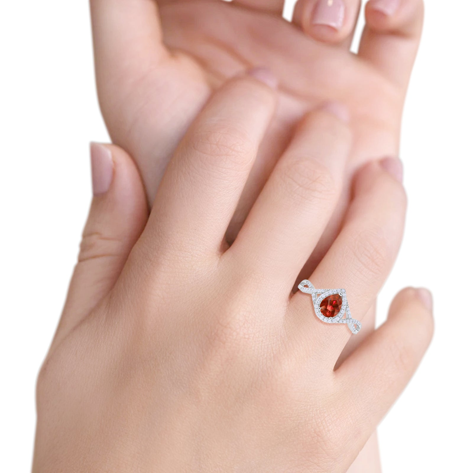 Teardrop Wedding Promise Ring Infinity Round Simulated Garnet CZ 925 Sterling Silver