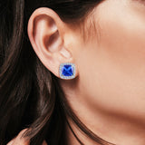 Cushion Cut Stud Earrings Simulated Tanzanite CZ 925 Sterling Silver