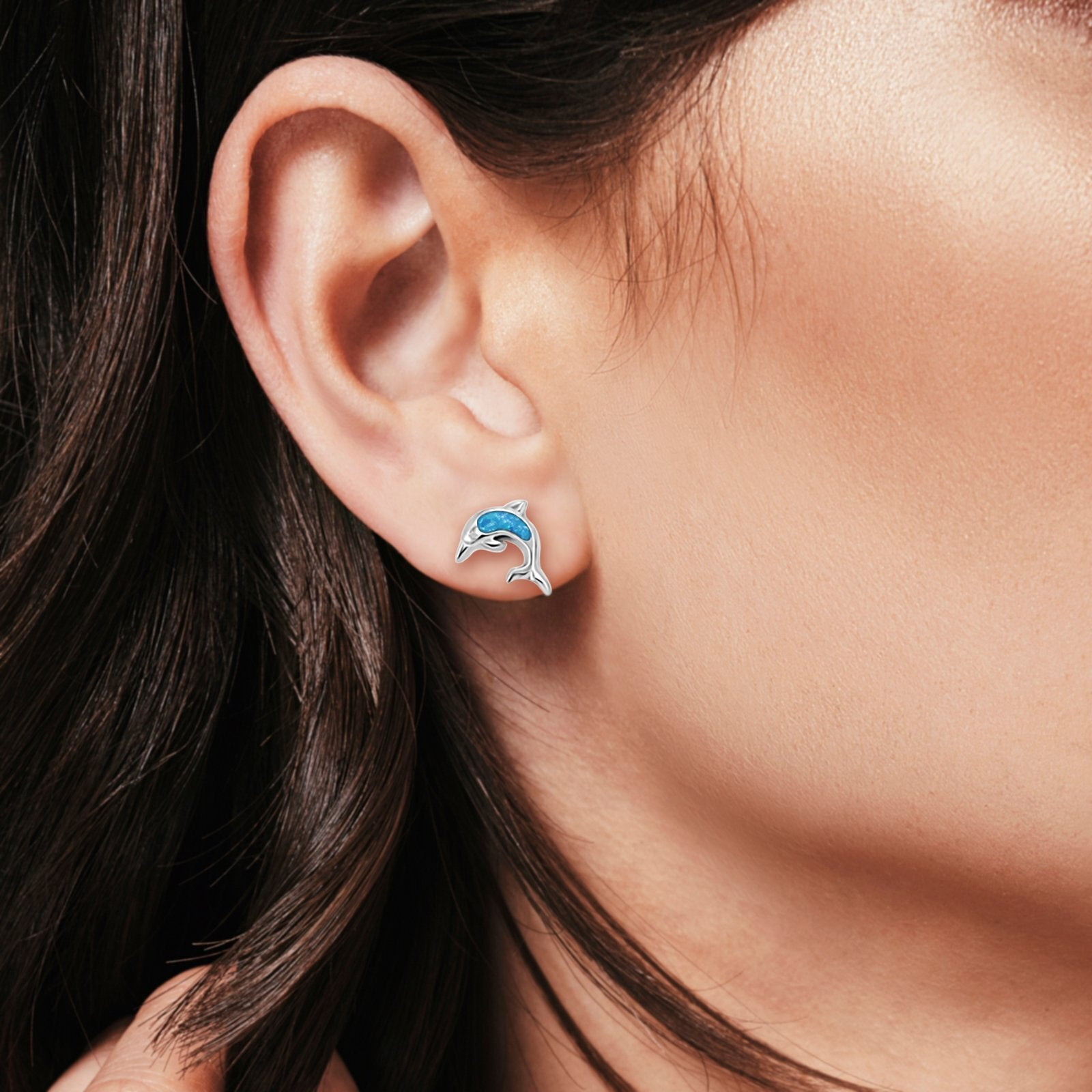 Dolphin Stud Earrings Lab Created Blue Opal 925 Sterling Silver