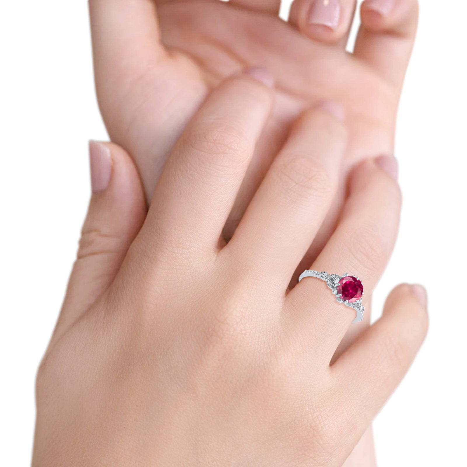 Art Deco Design Fashion Ring Round Simulated Ruby CZ 925 Sterling Silver