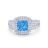 Halo Art Deco Wedding Ring Princess Cut Round Simulated Blue Topaz CZ 925 Sterling Silver