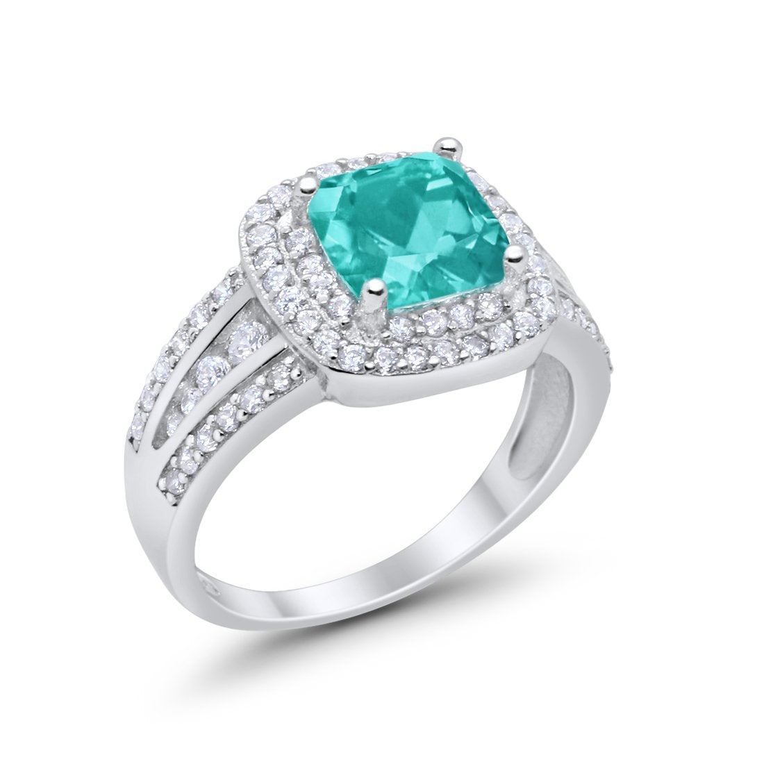 Halo Art Deco Wedding Ring Princess Cut Round Simulated Paraiba Tourmaline CZ 925 Sterling Silver
