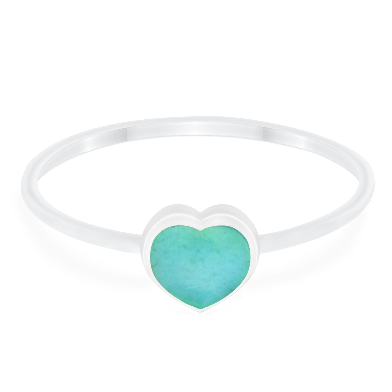 Petite Dainty Heart Promise Ring Simulated Turquoise CZ 925 Sterling Silver