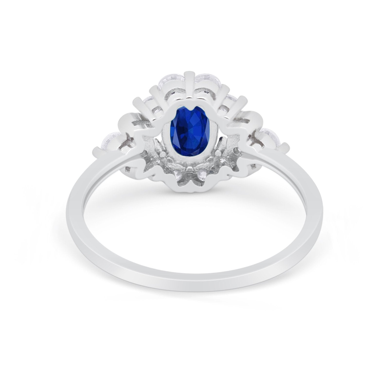 Oval Wedding Ring Vintage Art Deco Round Simulated Blue Sapphire CZ 925 Sterling Silver