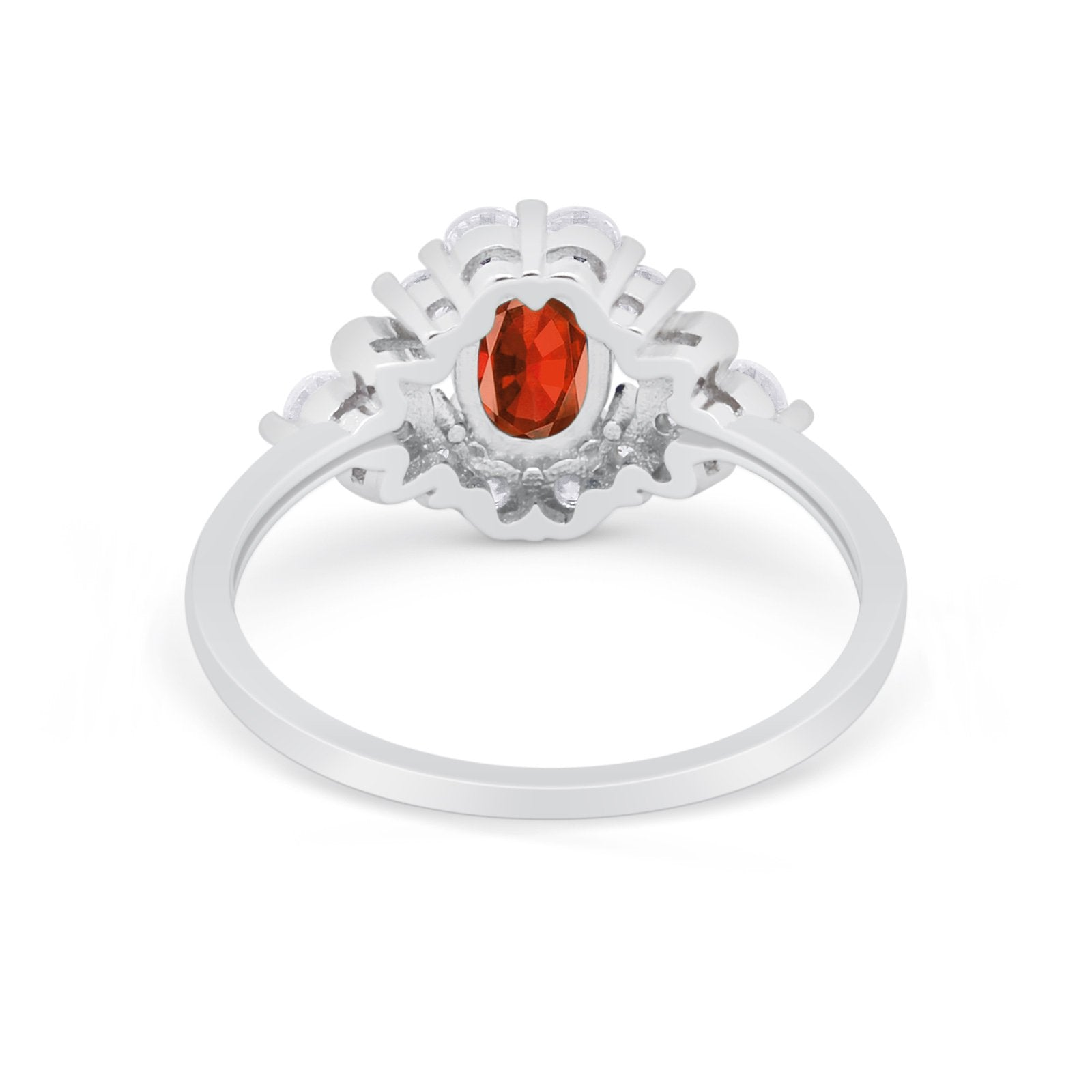 Oval Wedding Ring Vintage Art Deco Round Simulated Garnet CZ 925 Sterling Silver