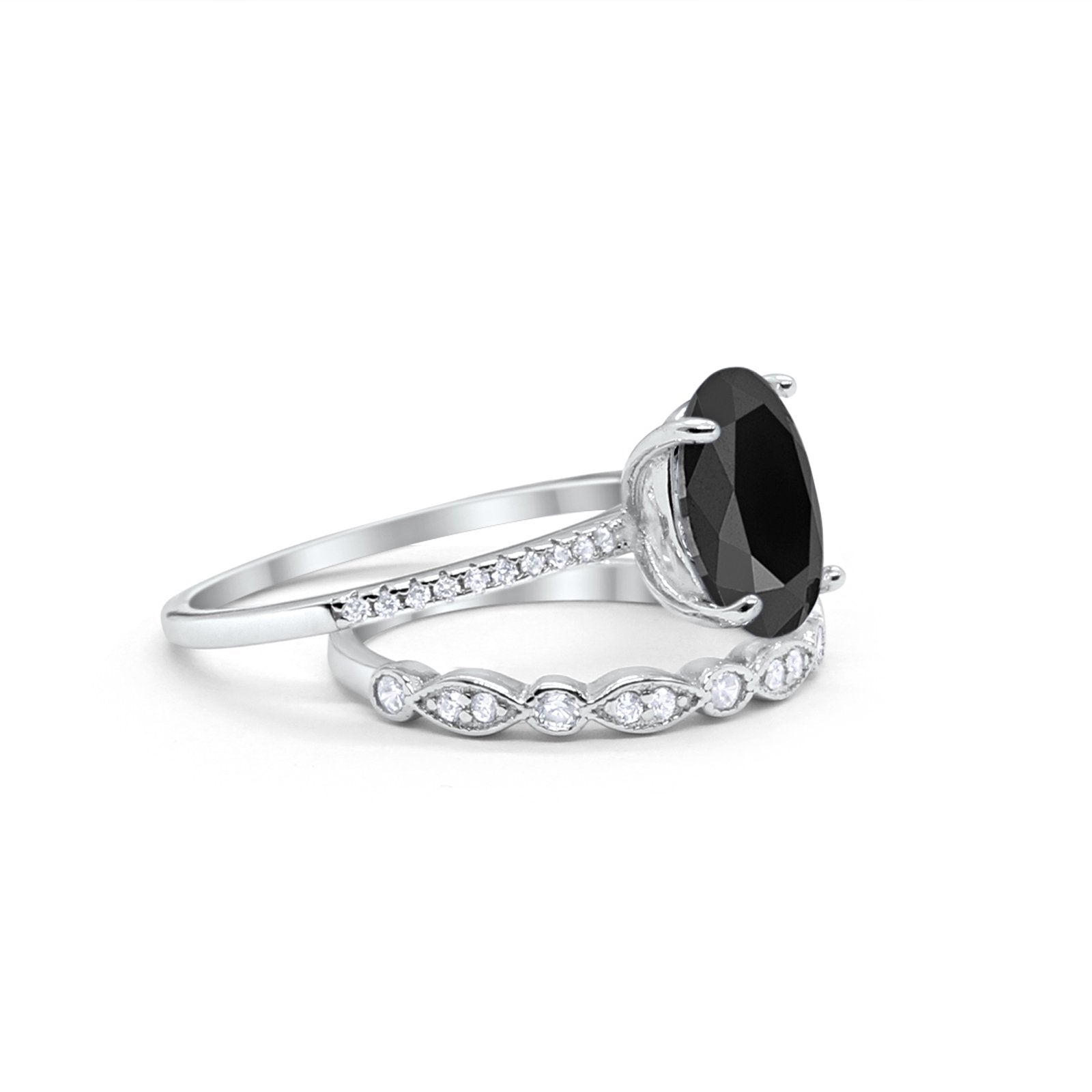 Infinity Wedding Piece Bridal Ring Oval Simulated Black CZ 925 Sterling Silver