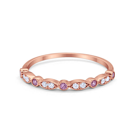 Half Eternity Wedding Band Rose Tone Round Simulated Pink Cubic Zirconia 925 Sterling Silver