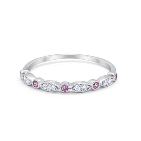 Half Eternity Wedding Band Round Simulated Pink & Clear Cubic Zirconia 925 Sterling Silver