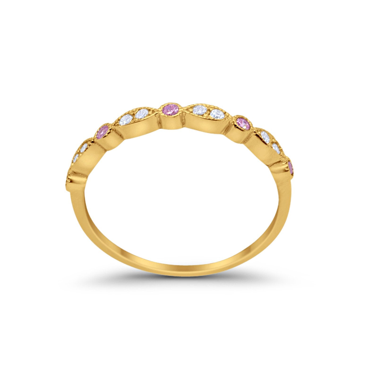 Half Eternity Wedding Band Round Yellow Tone, Simulated Pink CZ 925 Sterling Silver