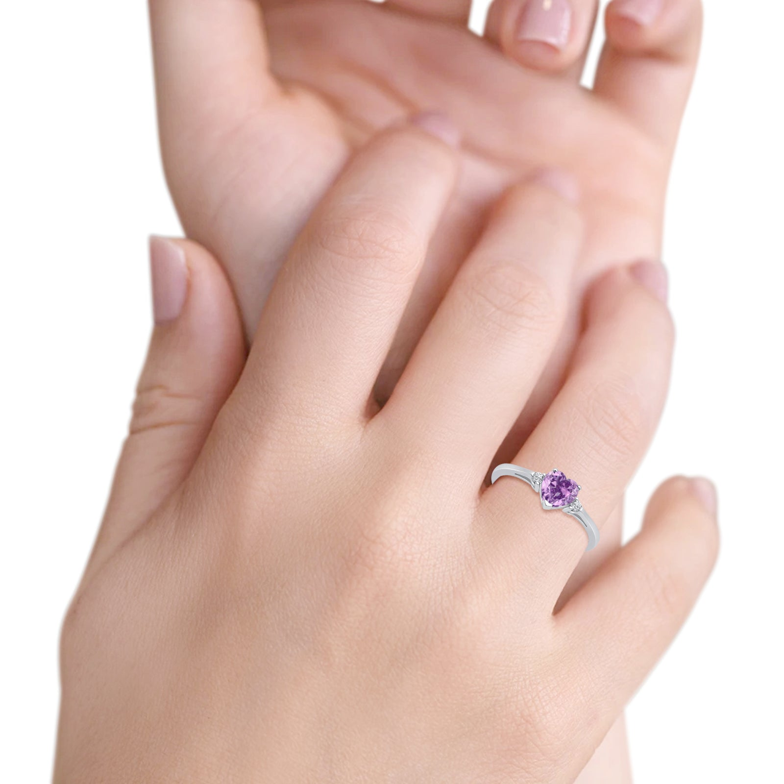 Heart Promise Engagement Ring Simulated Lavender CZ 925 Sterling Silver