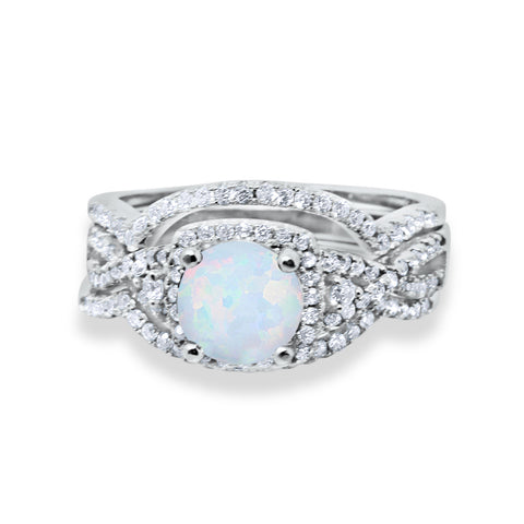 Trio Set Wedding Ring Lab White Opal Round CZ 925 Sterling Silver