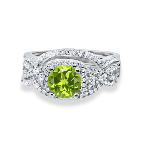 Three Piece Wedding Ring Round Simulated Peridot Cubic Zirconia 925 Sterling Silver