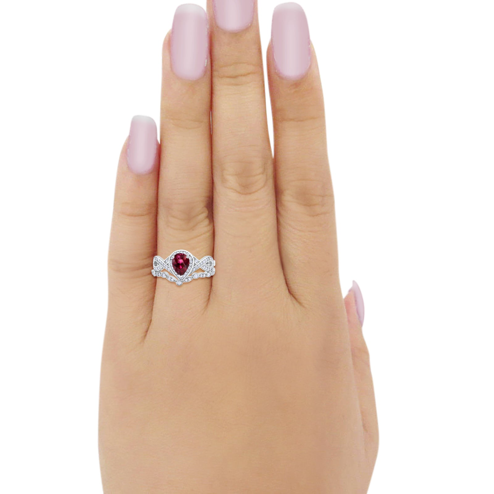 Teardrop Wedding Ring Band Piece Simulated Ruby CZ 925 Sterling Silver