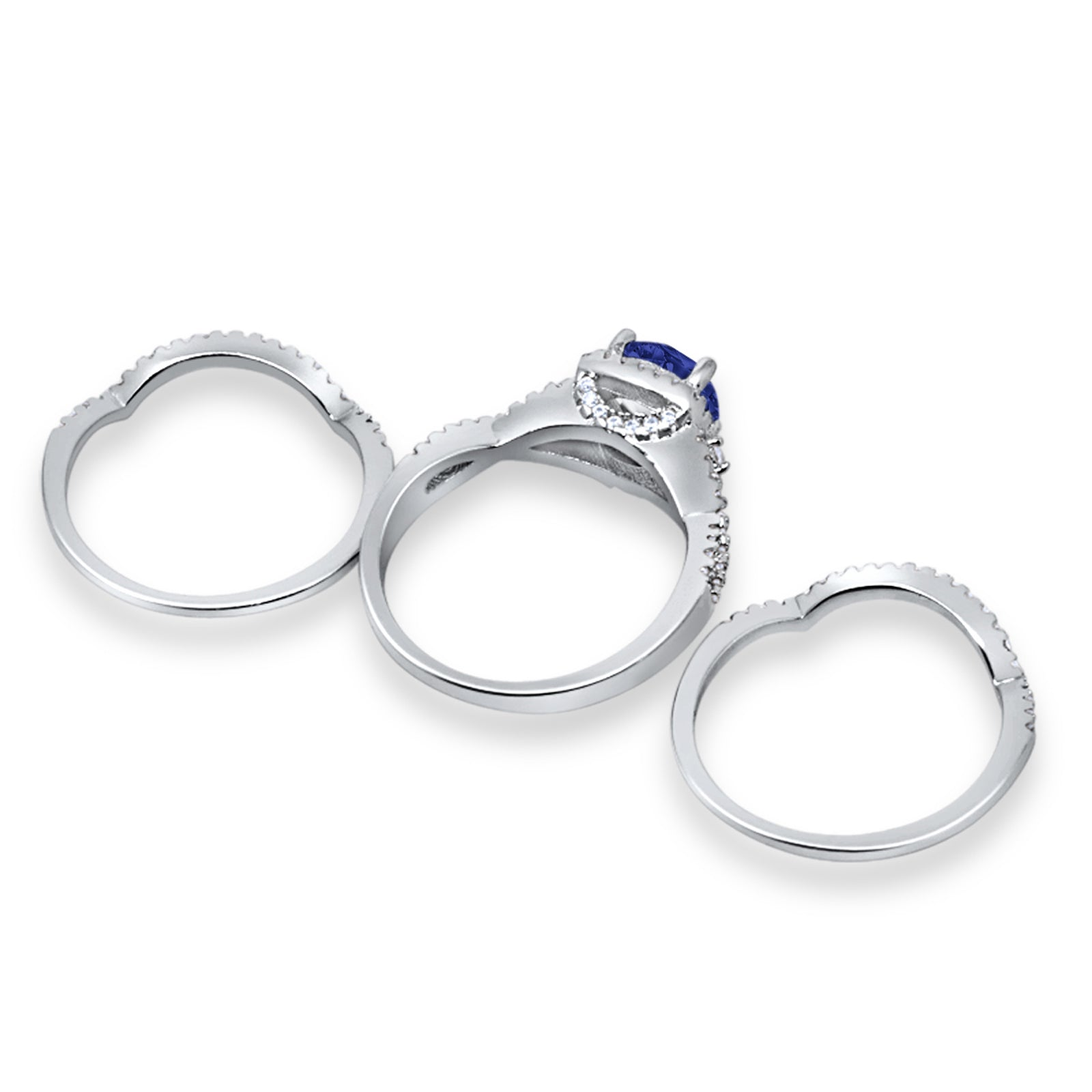 Three Piece Wedding Ring Simulated Blue Sapphire CZ 925 Sterling Silver