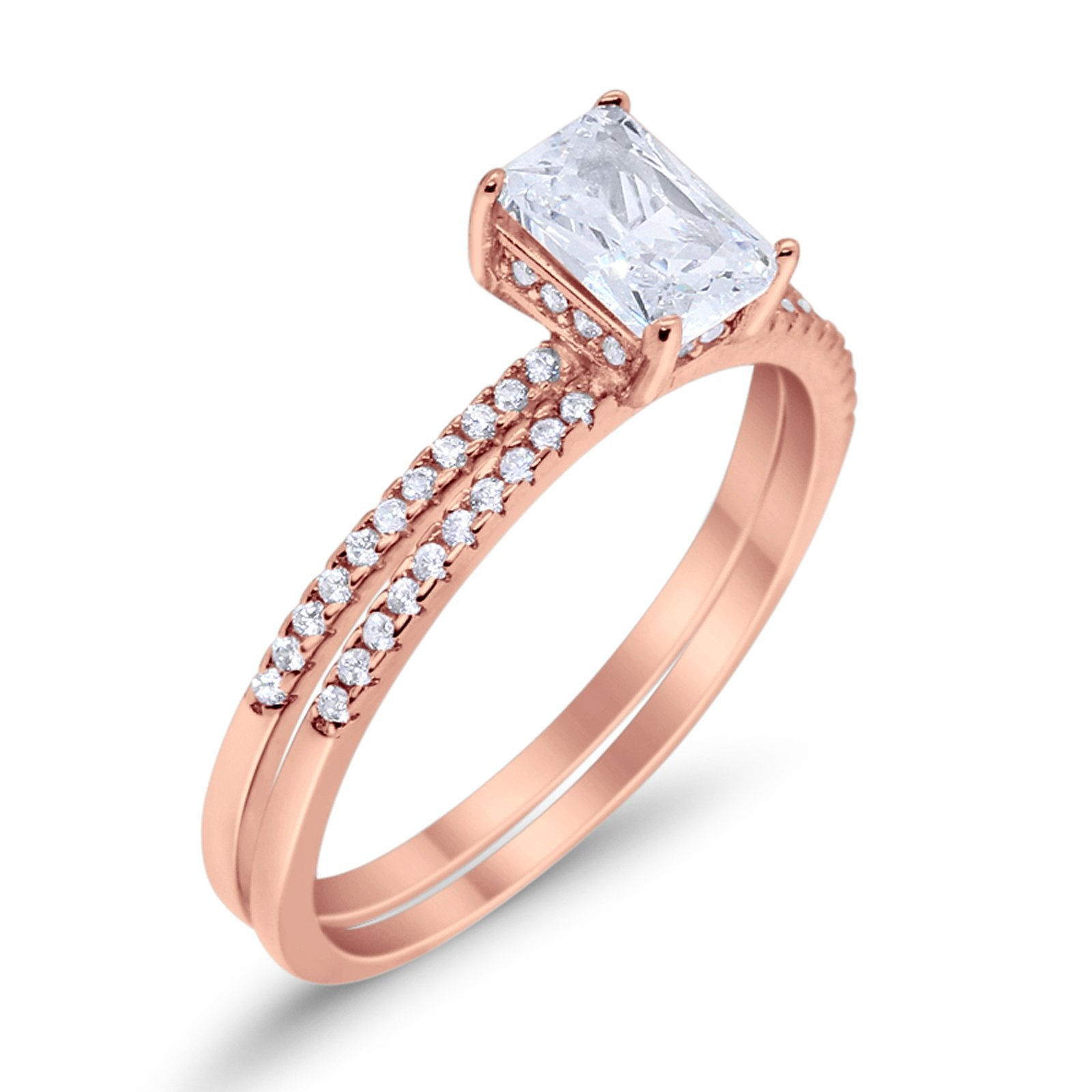 Art Deco Two Piece Wedding Radiant Rose Tone, Simulated Cubic Zirconia Ring 925 Sterling Silver