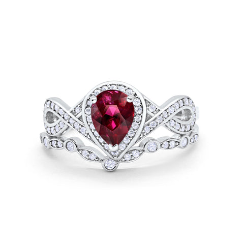 Teardrop Wedding Ring Band Simulated Ruby CZ 925 Sterling Silver