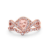 Teardrop Wedding Ring Piece Band Rose Tone Simulated Morganite CZ 925 Sterling Silver