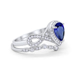 Teardrop Wedding Ring Band Piece Simulated Blue Sapphire CZ 925 Sterling Silver