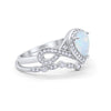 Teardrop Wedding Ring Band Created White Opal 925 Sterling Silver