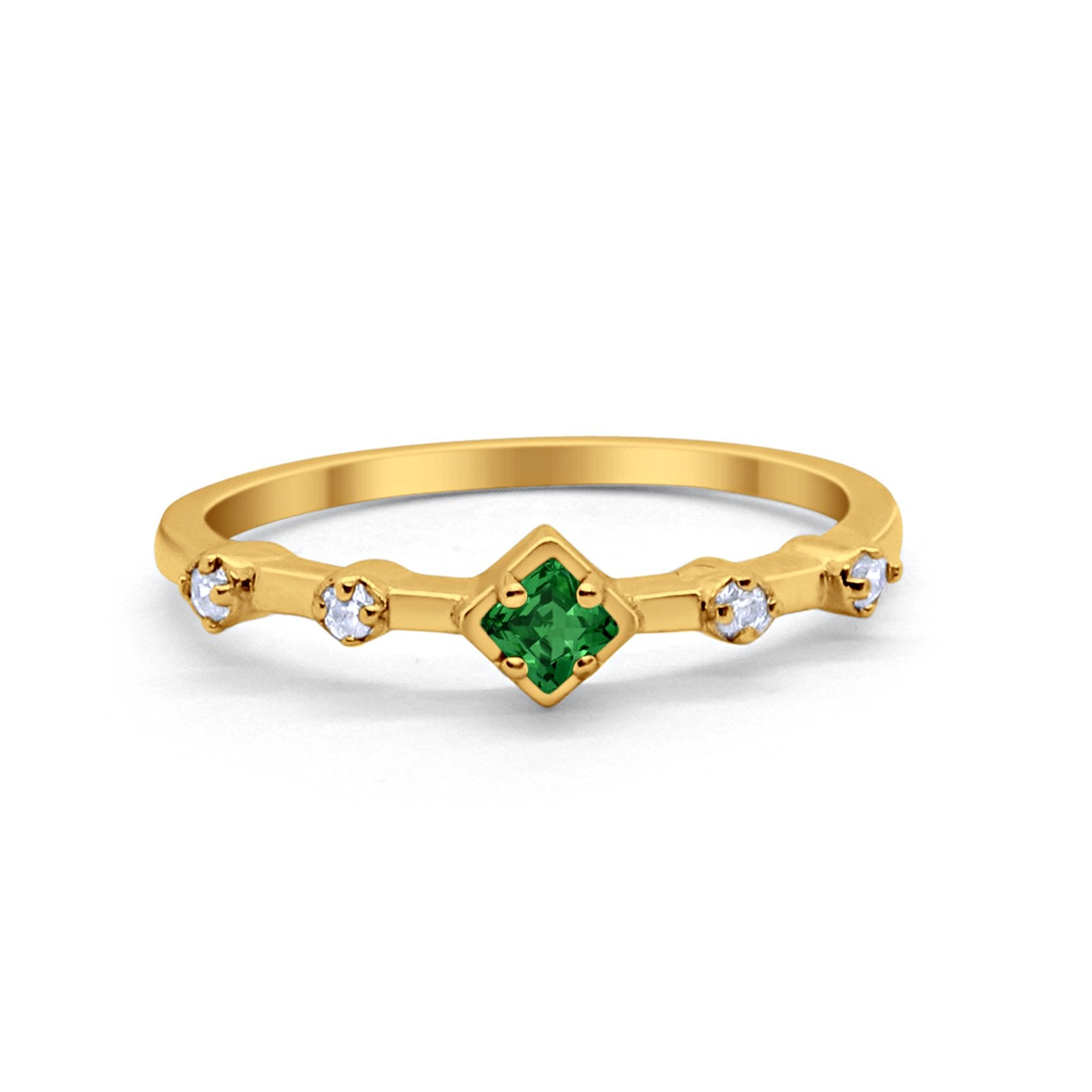 Half Eternity Ring Yellow Tone, Simulated Green Emerald CZ 925 Sterling Silver