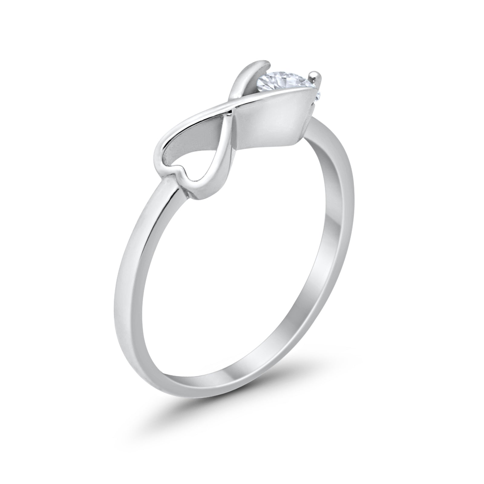 Petite Dainty Infinity Heart Ring Round Simulated Aquamarine CZ 925 Sterling Silver