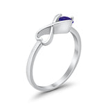 Petite Dainty Heart Promise Ring Simulated Blue Sapphire Cubic Zirconia 925 Sterling Silver