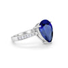 Teardrop Pear Bridal Ring Round Simulated Blue Sapphire CZ 925 Sterling Silver