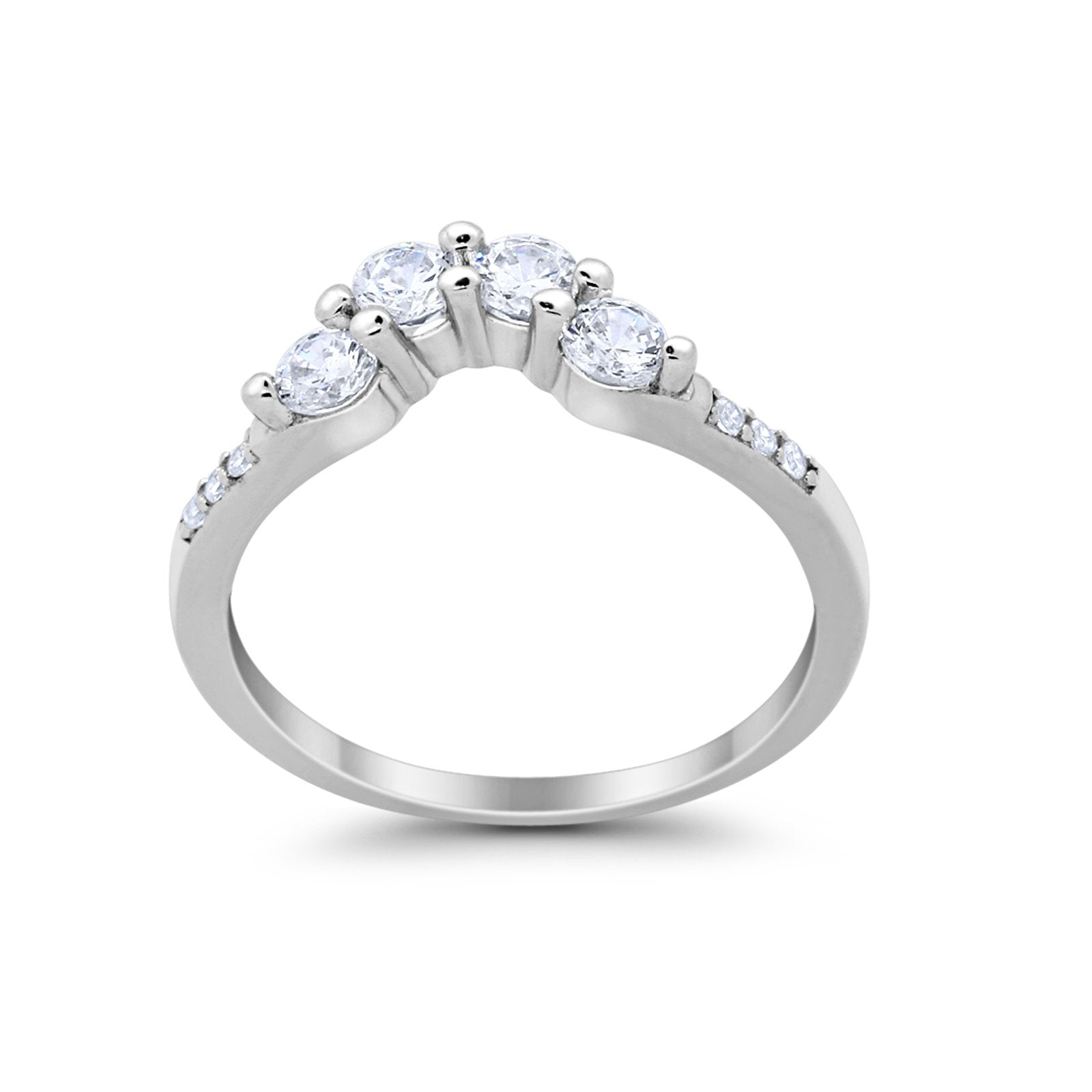 Curved Wedding Eternity Band Simulated Cubic Zirconia 925 Sterling Silver Ring