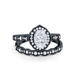 Two Piece Vintage Style Black Tone Simulated CZ Wedding Engagement Ring 925 Sterling Silver