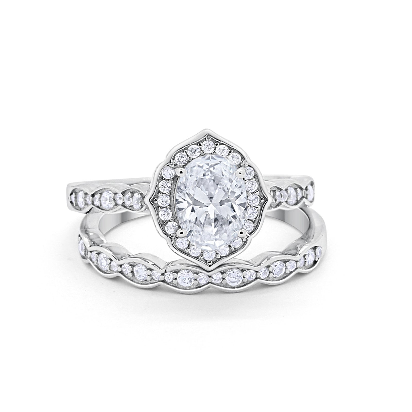 Two Piece Vintage Style Simulated CZ Wedding Engagement Ring 925 Sterling Silver