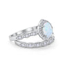 Two Piece Vintage Style Created White Opal Wedding Engagement Ring 925 Sterling Silver