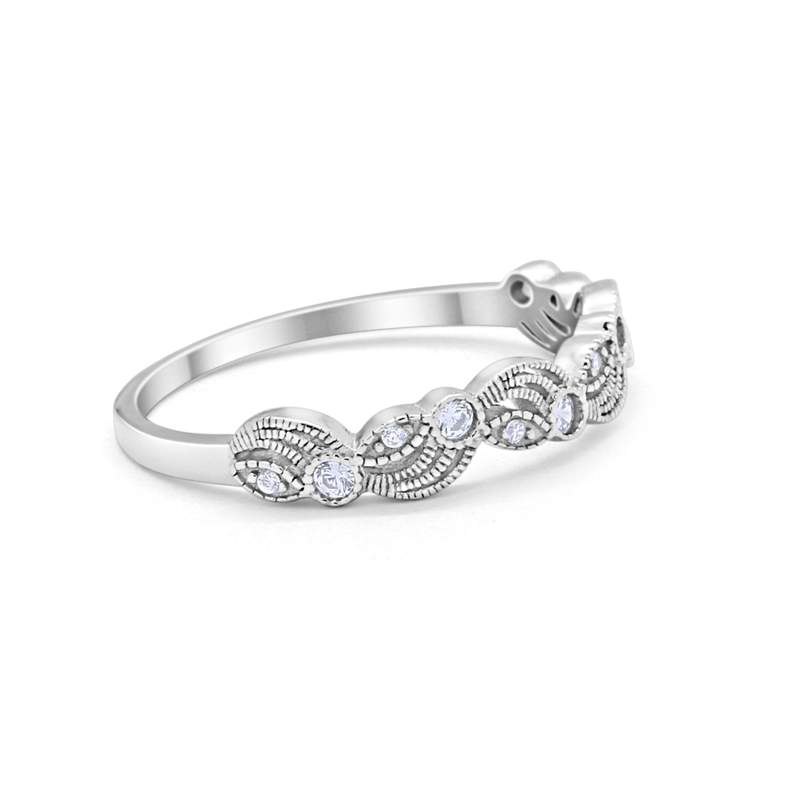 Flower Fancy Band Ring Round Simulated Cubic Zirconia 925 Sterling Silver