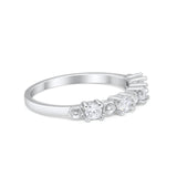 Half Eternity Simulated CZ 925 Sterling Silver Engagement Band