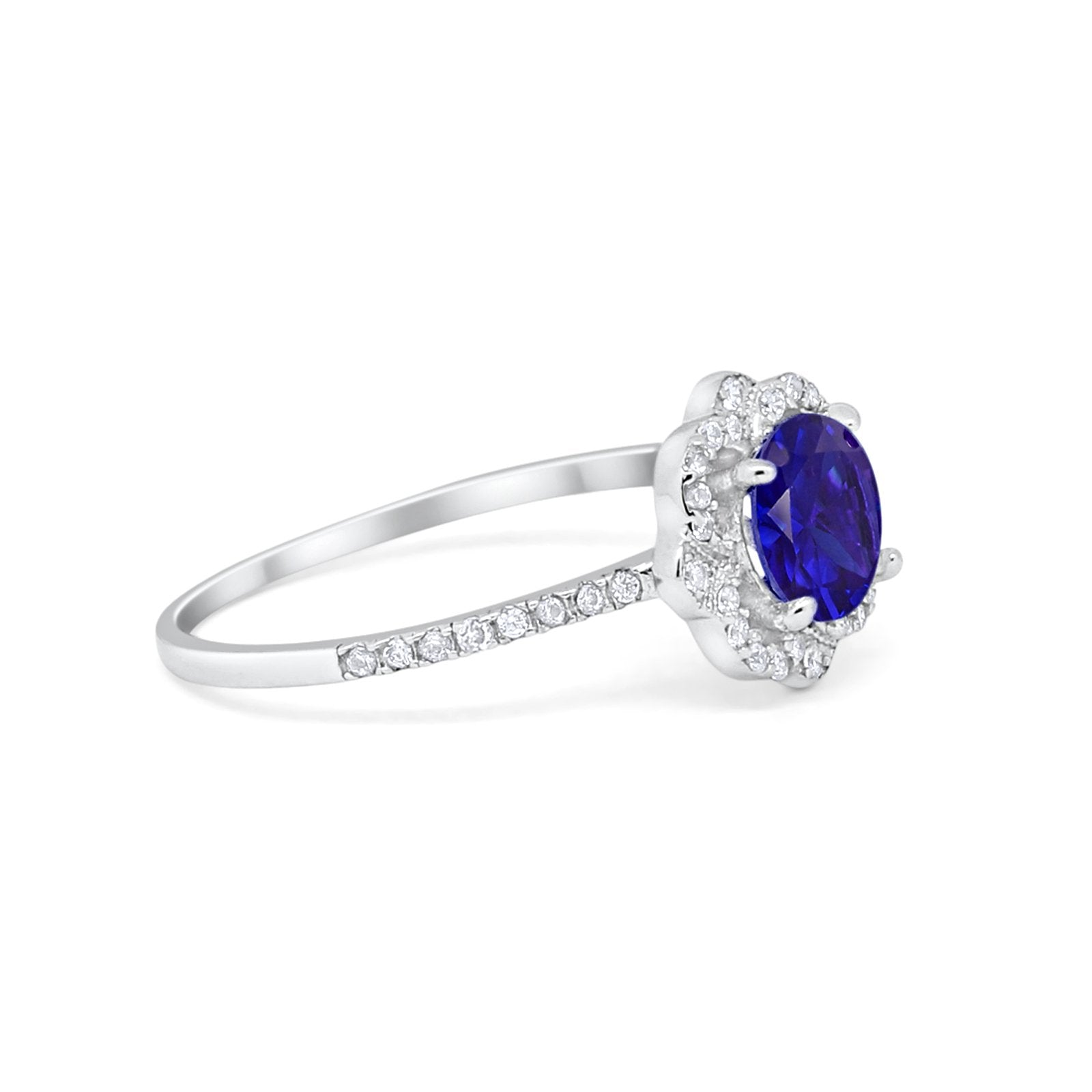Floral Engagement Ring Simulated Blue Sapphire CZ 925 Sterling Silver